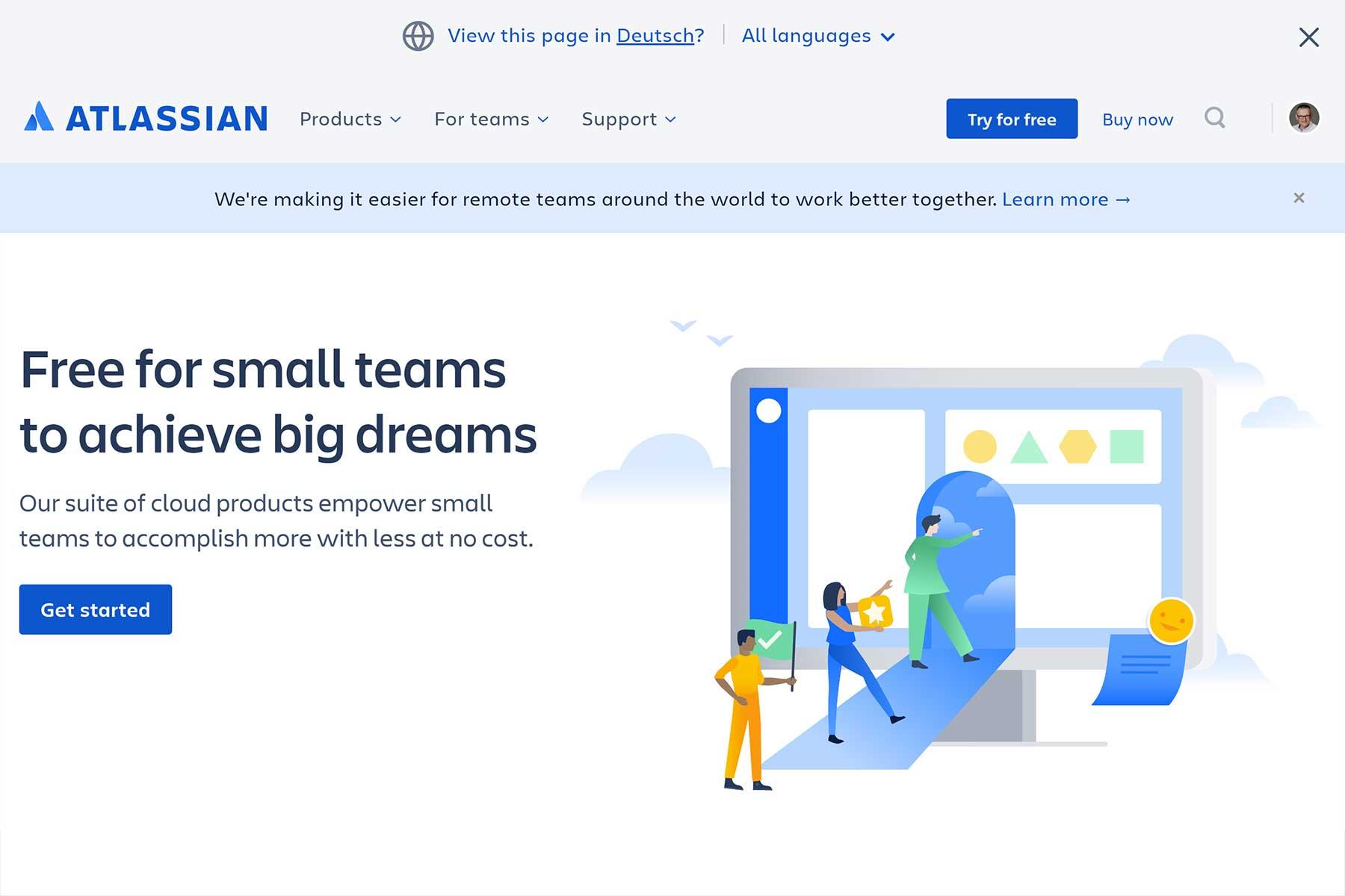 Website von Atlassian Confluence
