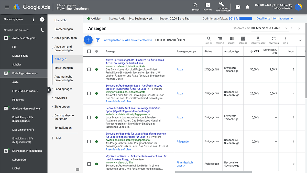 Anzeigen in einem Google Ads Account