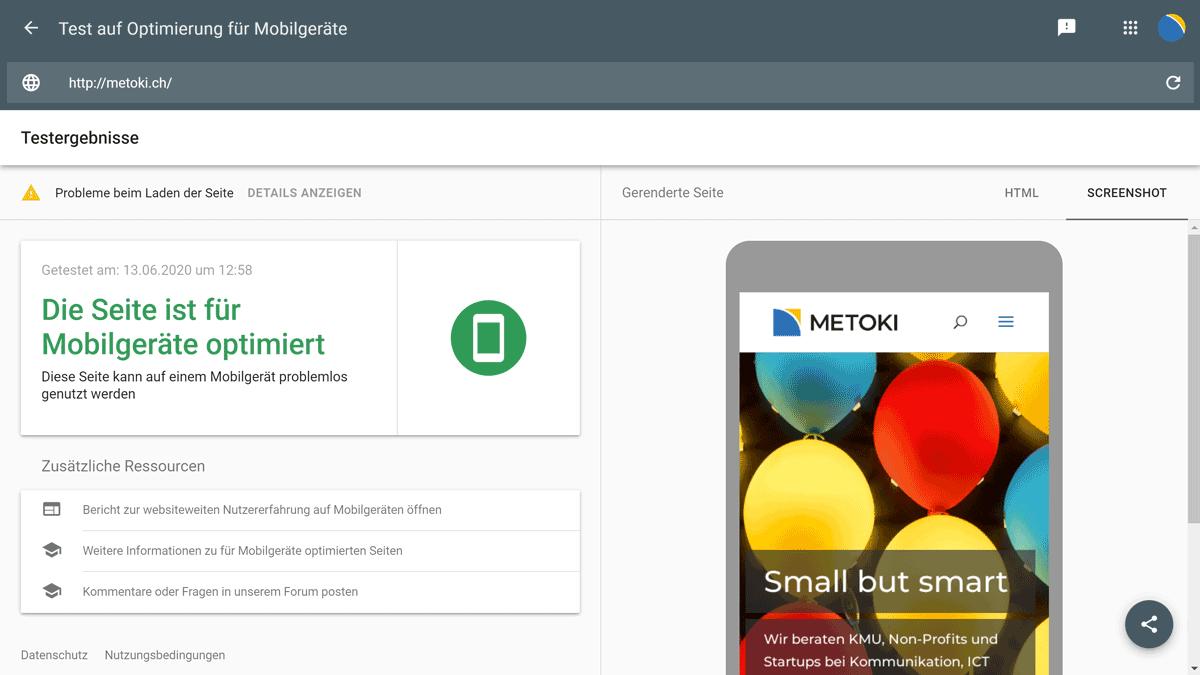 Google Test-Tool für die Mobile-Optimierung