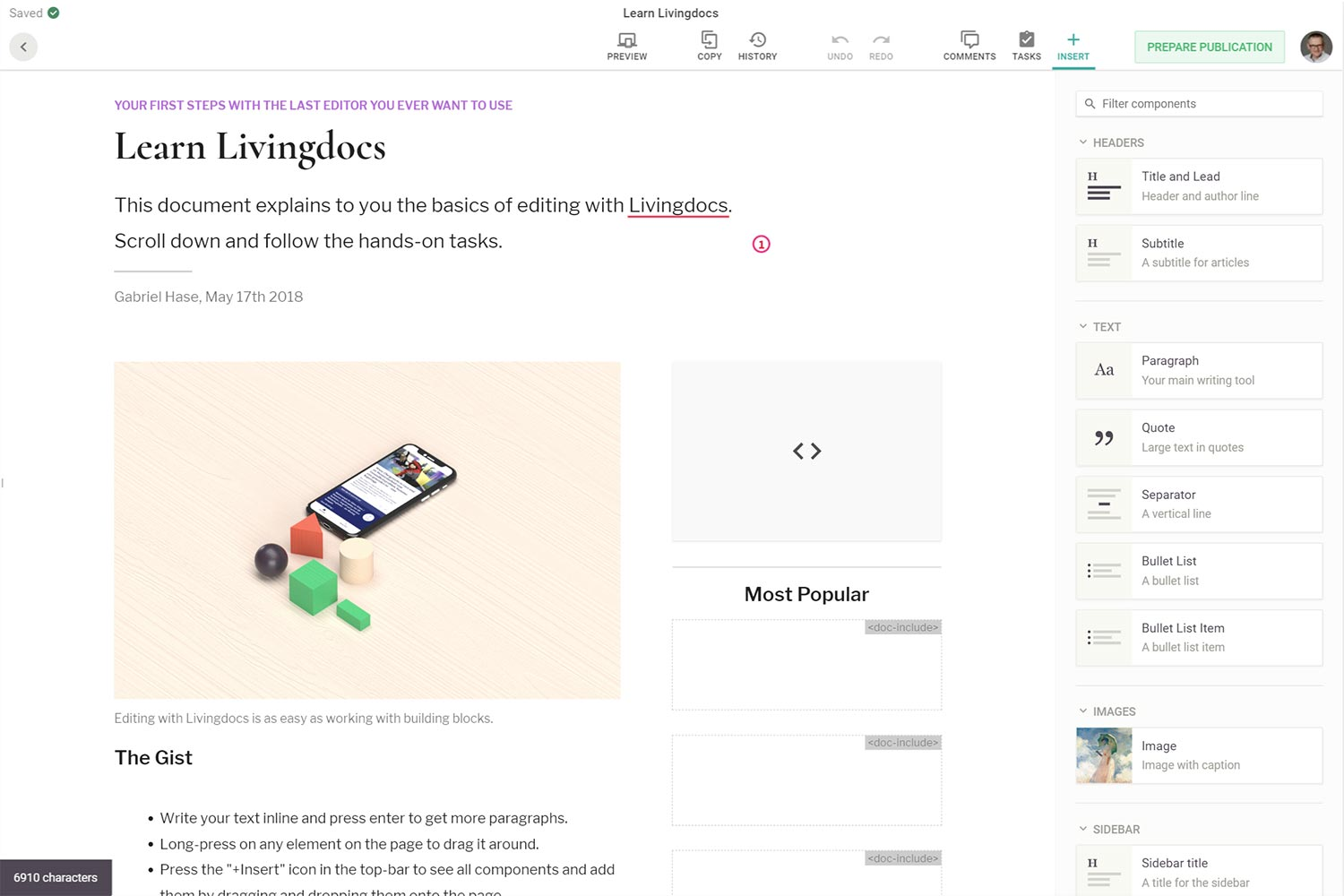 Screenshot des Livingdocs Editor