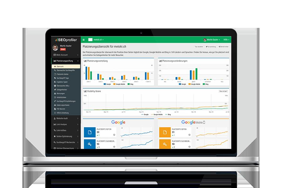 Computer-Bildschirm mit der Website von SEOprofiler