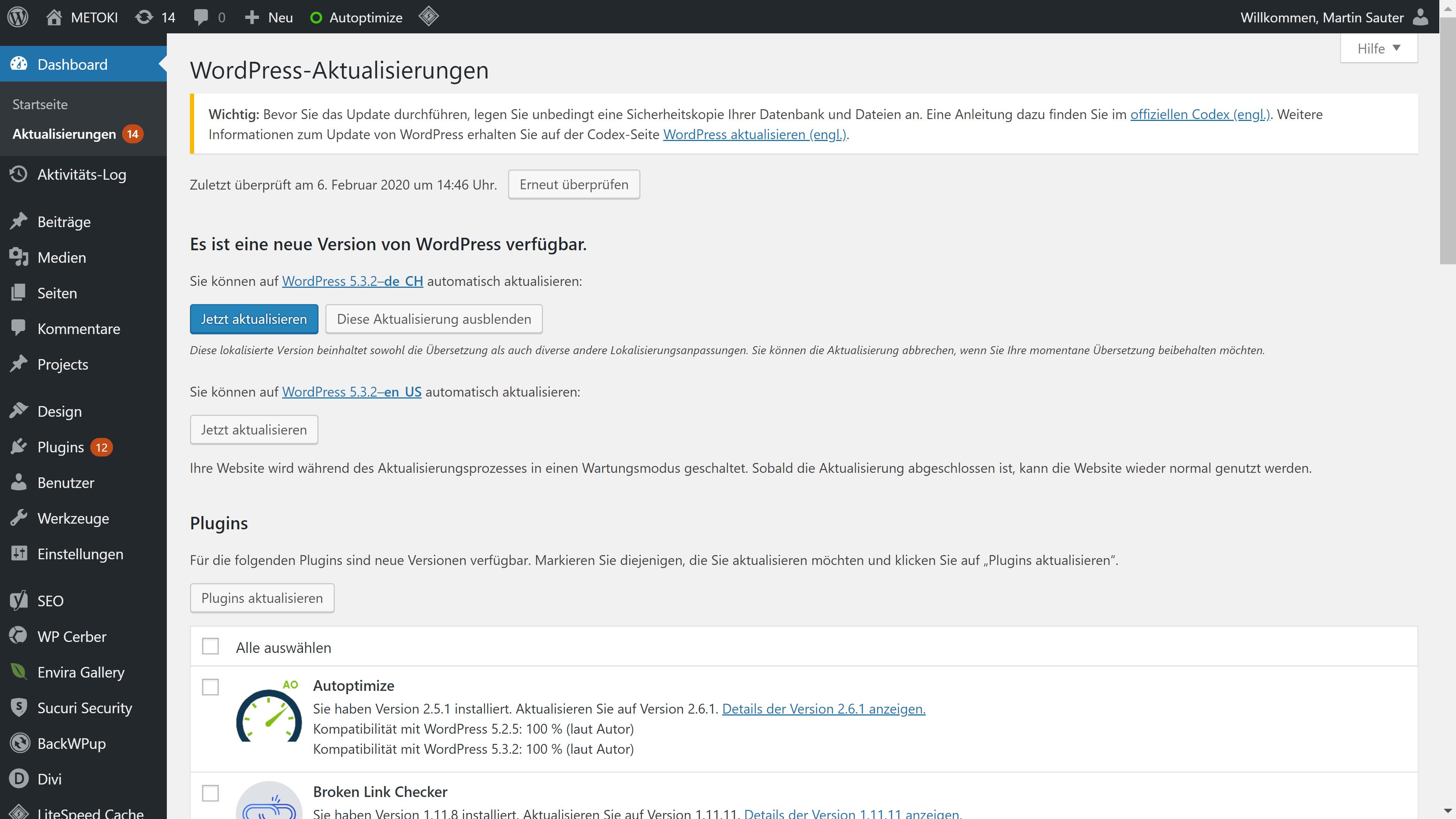 Liste der ausstehenden Aktualisierungen im WordPress Backend