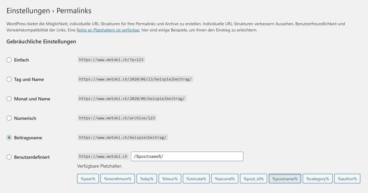 Optionen für die Permalink-Struktur in WordPress