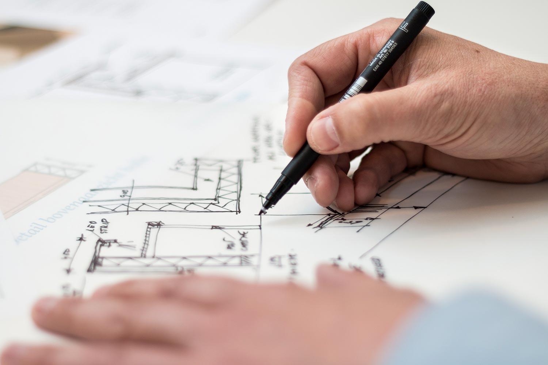 Architekt entwirft Grundriss