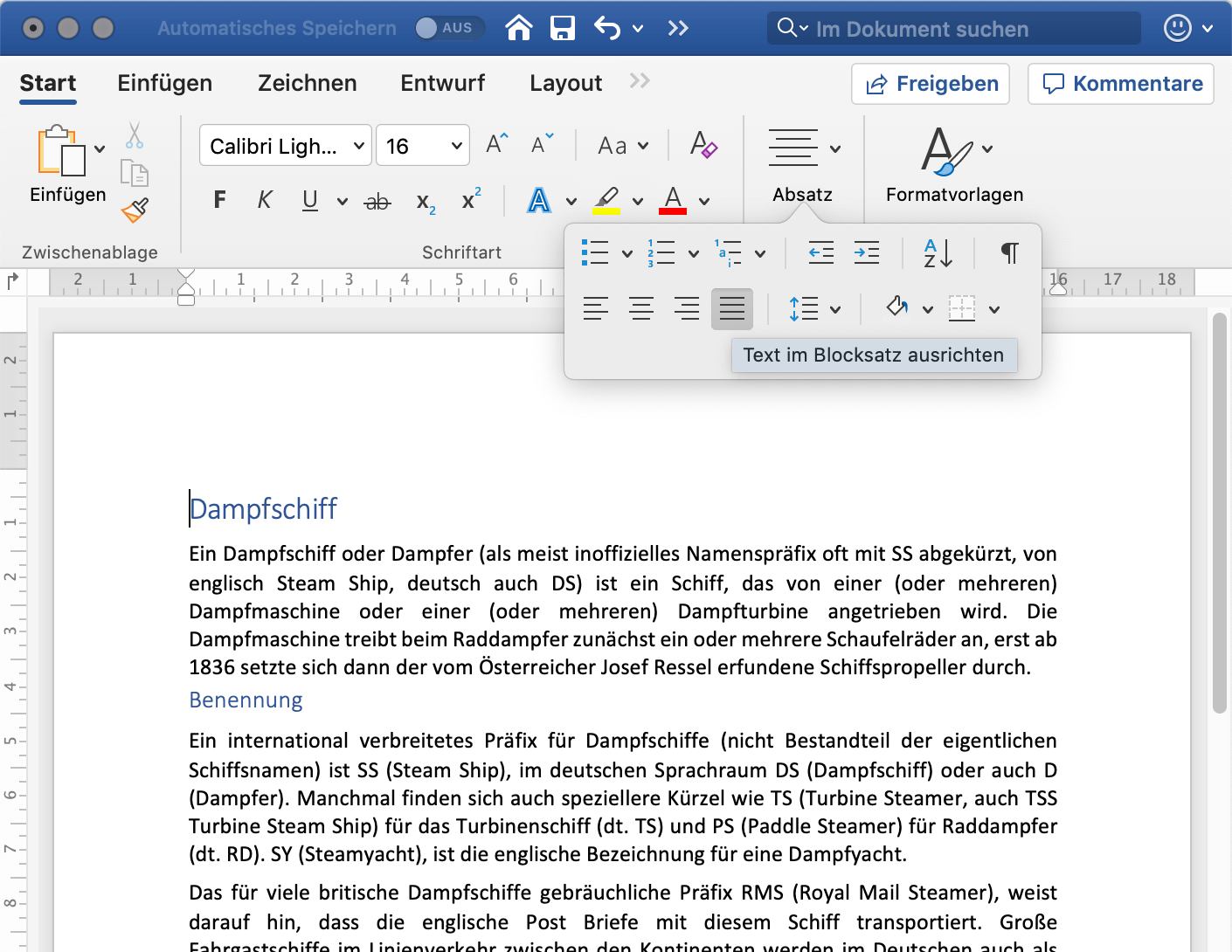 Blocksatz in Microsoft Word