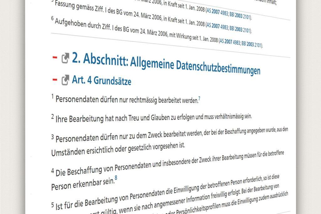Ausschnitt aus dem Schweizer Datenschutzgesetz