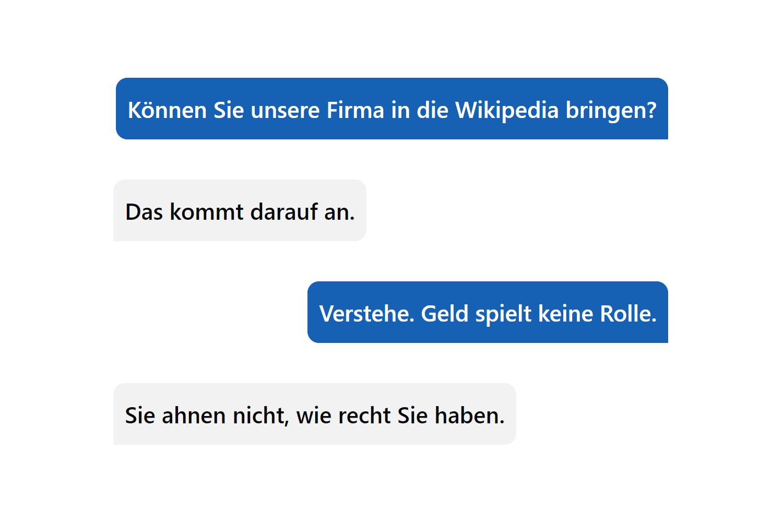 «Können Sie unsere Firma in die Wikipedia bringen?»