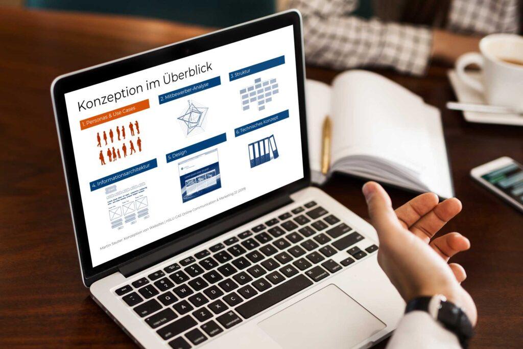 Notebook mit Präsentation zum Thema «Konzeption von Websites»
