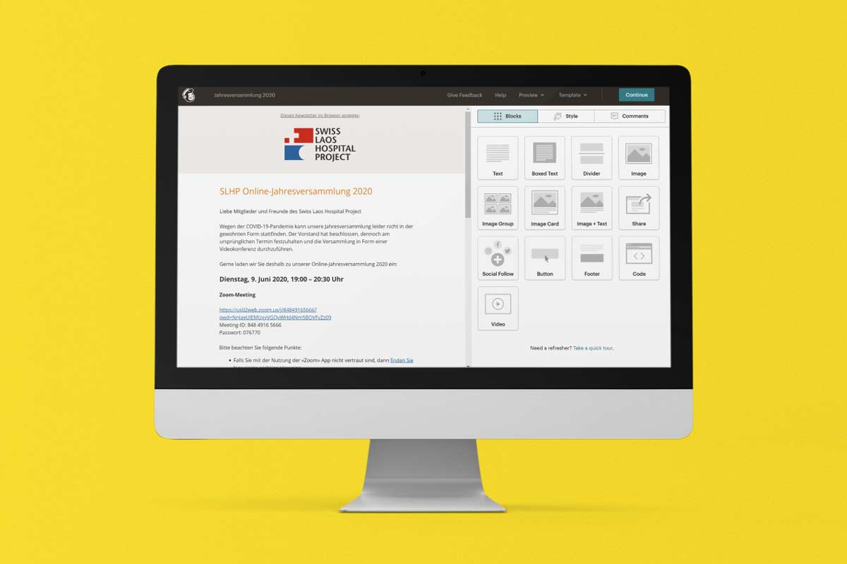 Editor der Mailchimp-Plattform
