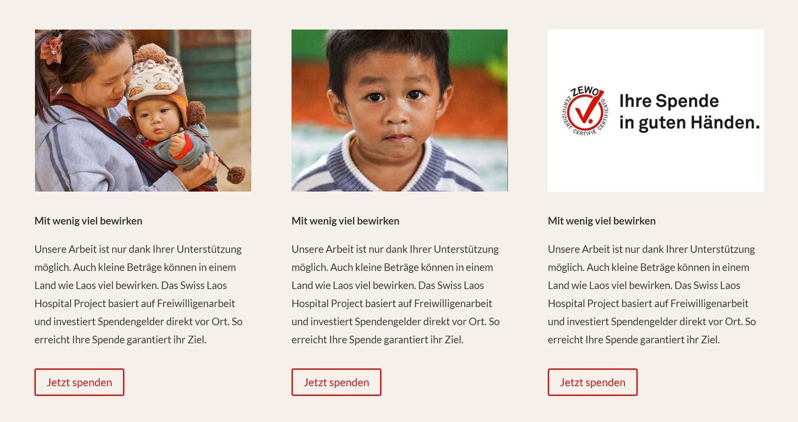 3 Teaser-Varianten für einen Spendenaufruf mit unterschiedlichen Bildern