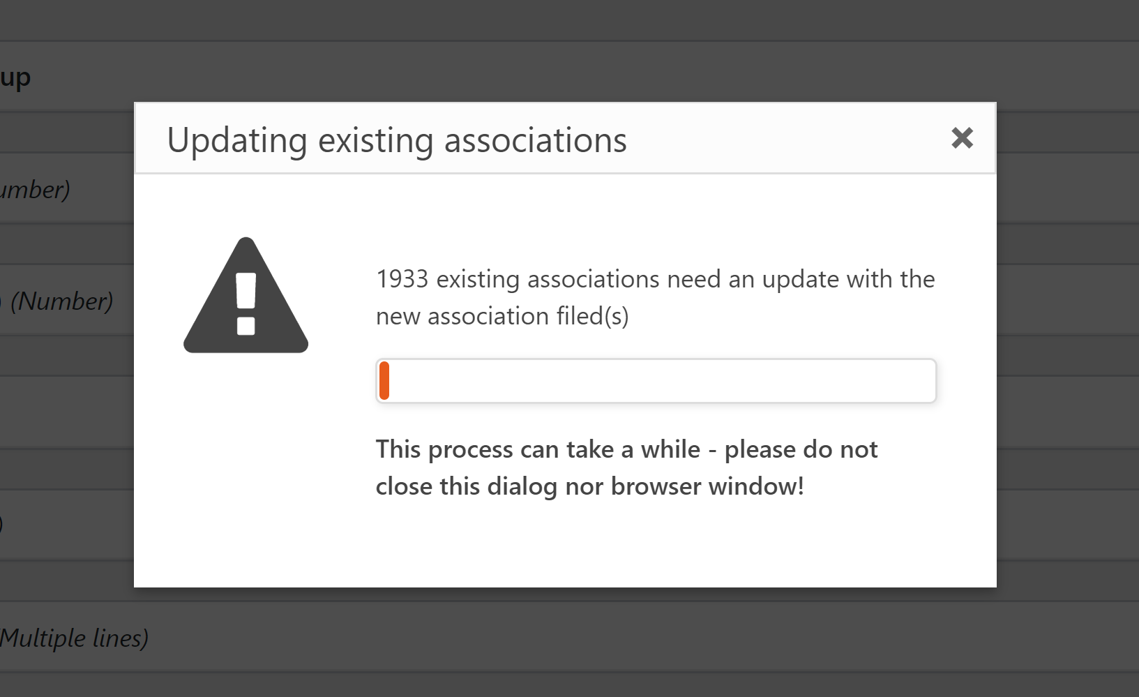 Toolset warning: Updating existing associations