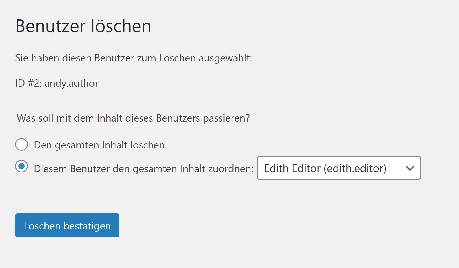 WordPress Benutzer löschen