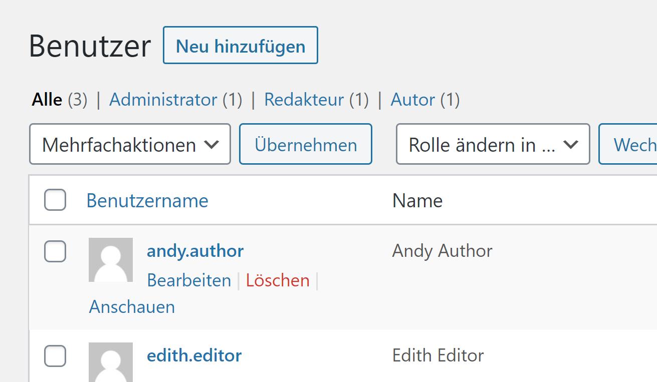 WordPress Benutzerverwaltung (Detail)