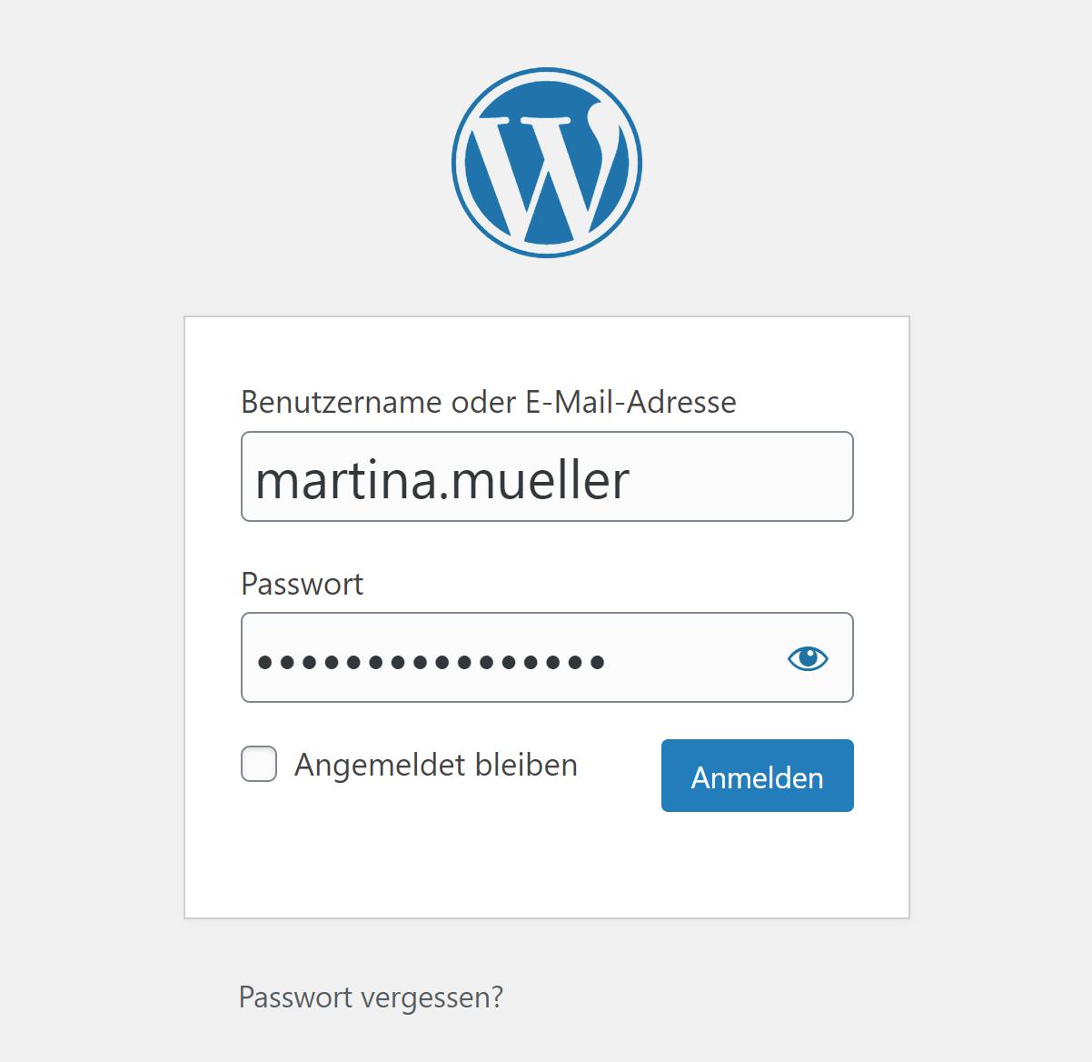 WordPress: Login-Formular