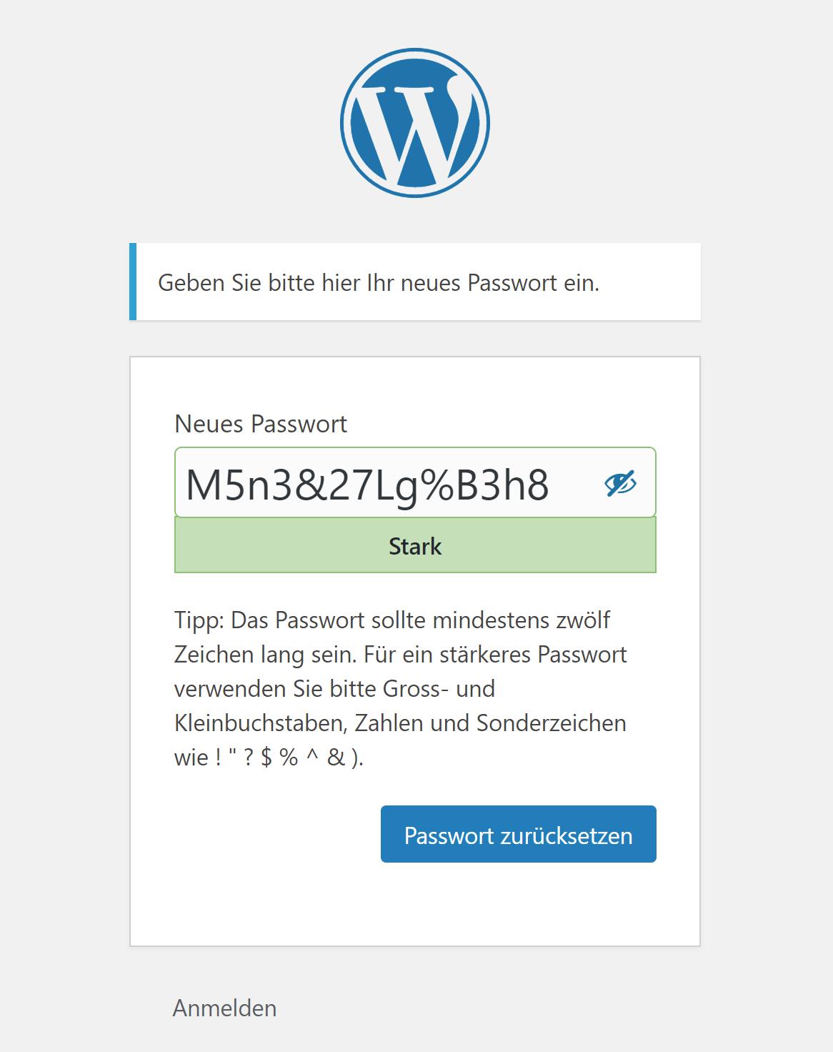 WordPress: Formular für neues Passwort