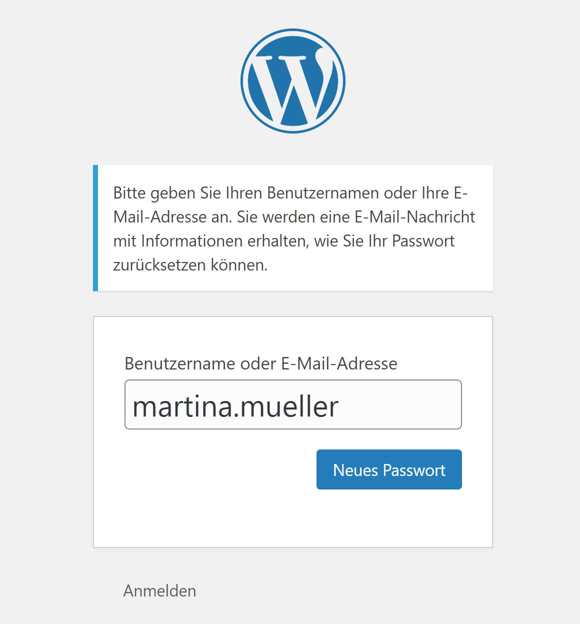 WordPress: Formular für Passwort-Wiederherstellung